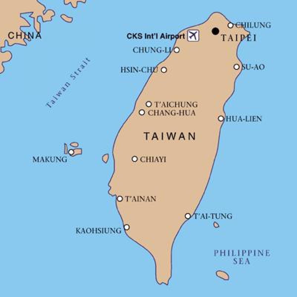 Karte Anzeigen.Taiwan Flughäfen Karte Taiwan Internationaler Flughafen Karte Ost